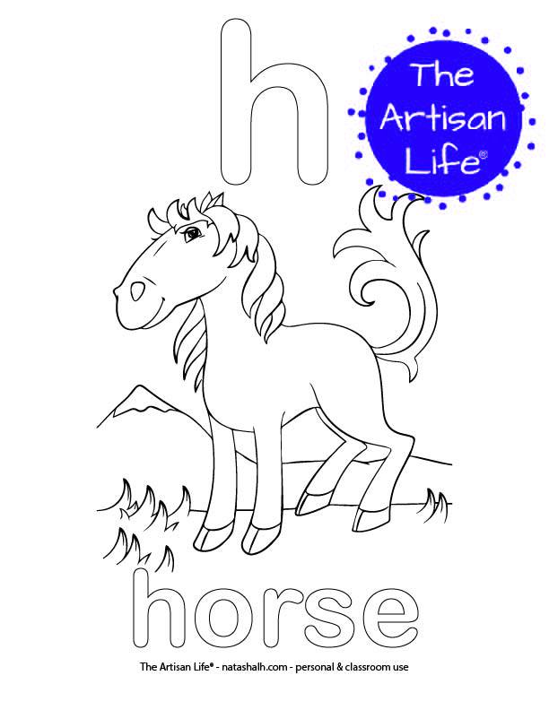 Coloring page with bubble letter h and horse in bubble letters and a picture of a horse to color