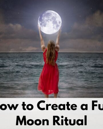 """text overlay """"how to create a full moon ritual"""" over a picture of a woman in a red dress at the beach. She seems to be holding a full moon in her hands."""