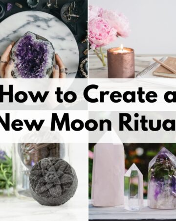 """text overlay """"how to create a new moon ritual"""" over a 2x2 image grid showing a woman holding a large amethyst crystal, a candle with a journal, an activated charcoal bath bomb, and three crystal points"""