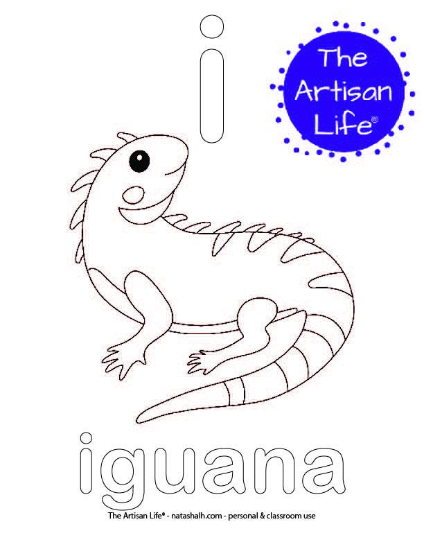 Coloring page with bubble letter if and iguana in bubble letters and a picture of an iguana to color