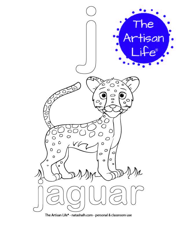 Coloring page with bubble letter j and jaguar in bubble letters and a picture of a jaguar to color