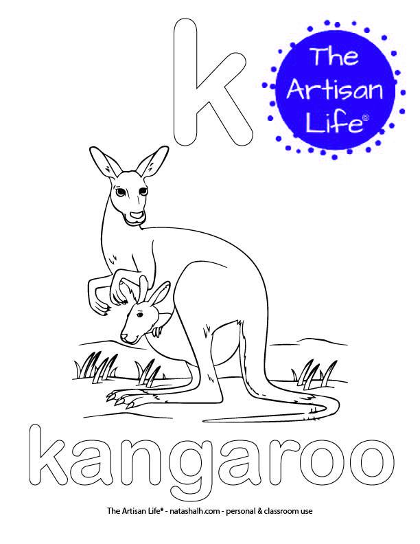 Coloring page with bubble letter k and kangaroo in bubble letters and a picture of a kangaroo to color