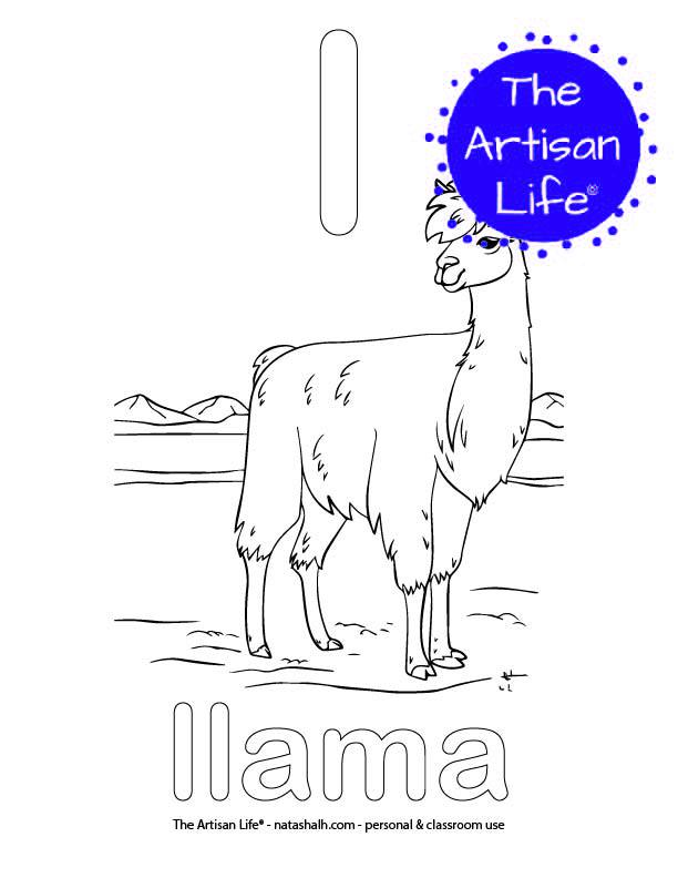 Coloring page with bubble letter l and llama in bubble letters and a picture of a llama to color