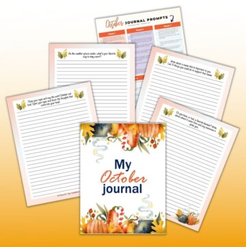 "a preview of 6 October journal page printables. The front and center has a cover page reading ""My October Journal"" with watercolor pumpkins and leaves on the top and bottom. Behind are lined journal pages with watercolor decorative elements."