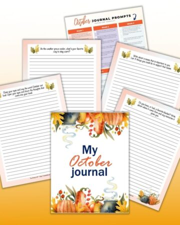 """a preview of 6 October journal page printables. The front and center has a cover page reading """"My October Journal"""" with watercolor pumpkins and leaves on the top and bottom. Behind are lined journal pages with watercolor decorative elements."""
