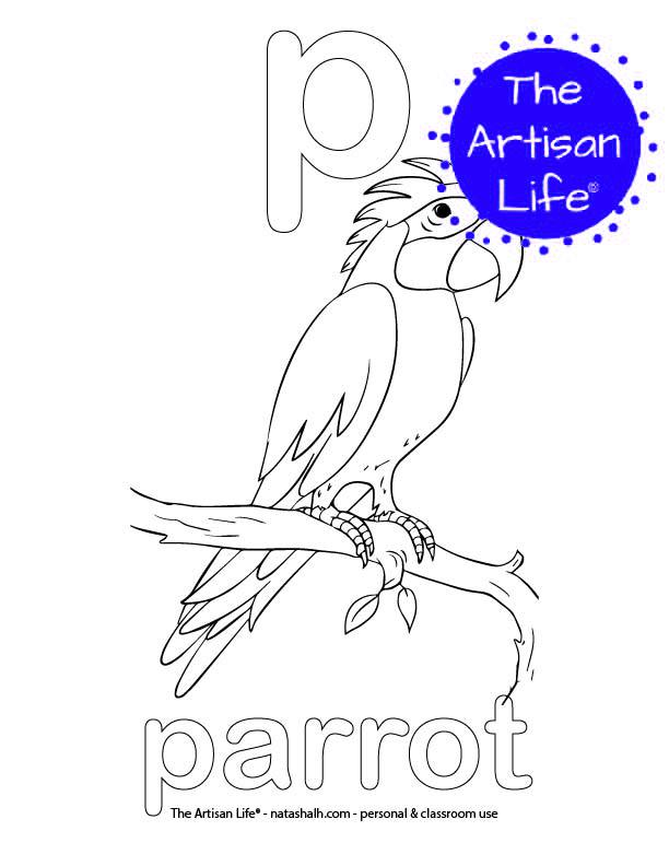 Coloring page with a lowercase bubble letter p and parrot in bubble letters and a picture of a parrot to color