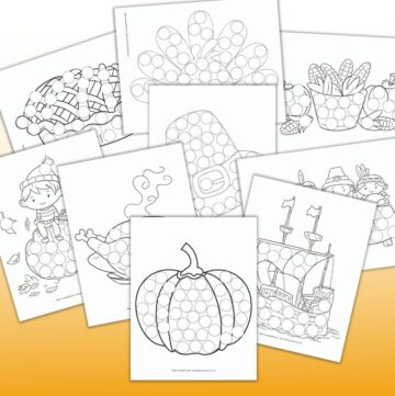 9 printable do a dot Thanksgiving coloring pages for preschoolers including a pumpkin, the Mayflower, the First Thanksgiving, corn, a pilgrim hat, a roast turkey, a pie, and a boy sitting on a pumpkin