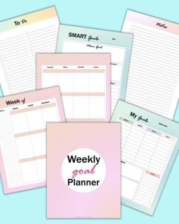 A preview of 7 colorful weekly goals planner printable pages on a light blue background