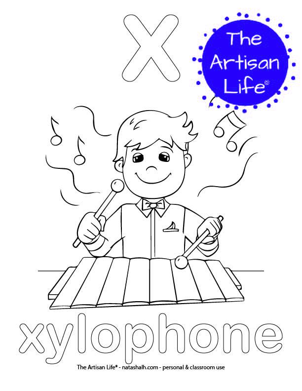 Coloring page with a lowercase bubble letter x and xylophone in bubble letters and a picture of a xylophone to color