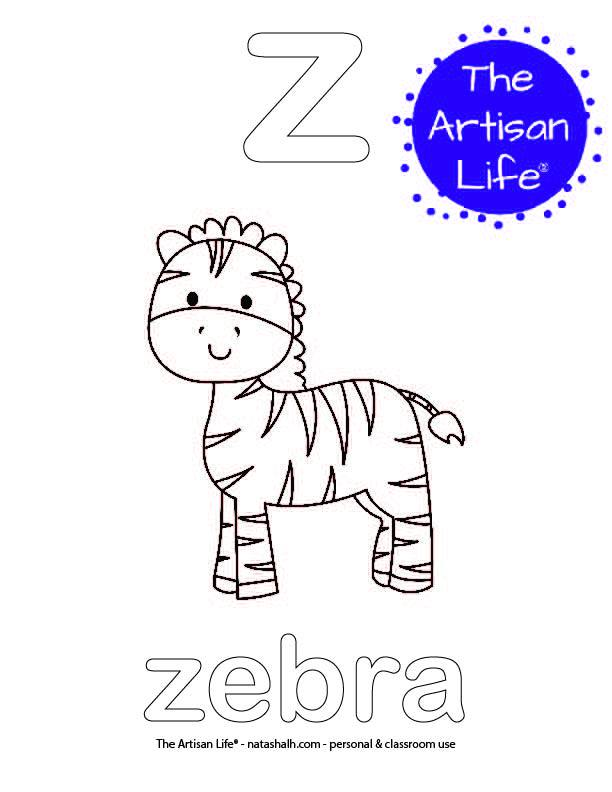 Coloring page with a lowercase bubble letter z and zebra in bubble letters and a picture of a zebra to color