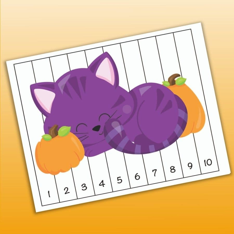 A printable Halloween number order puzzle with the numbers 1-10 and a purple cat curled up with two pumpkins