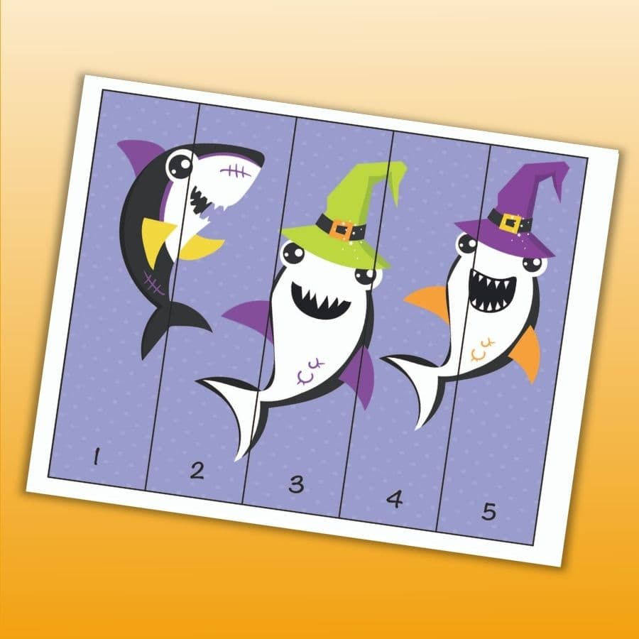 a number order puzzle with numbers 1-5 featuring three Halloween sharks on a purple background