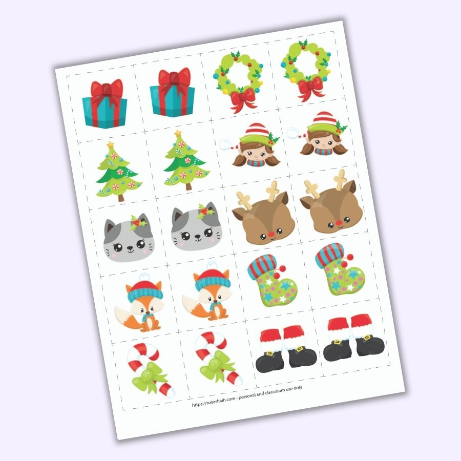"A preview of a Christmas themed matching game for toddlers and preschoolers. There is a grid of 8 pairs of images on 2"" cards to cut out. Images include a present, a Christmas tree, a cat face, a fox wearing a hat, a candy cane with a green bow, a wreath, a girl elf face, a Rudolph face, a green Christmas stocking, and Santa boots."