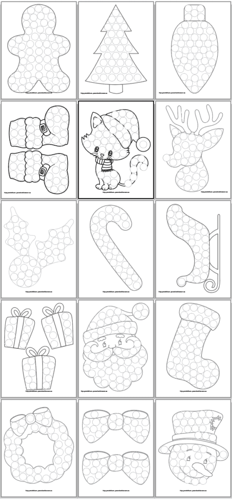 A 3x5 grid of do a dot printable coloring pages for toddlers and preschoolers. Images include: Gingerbread man Christmas tree Christmas bulb Santa's boots A Christmas cat Rudolph Holly A candy cane A sleigh Presents Santa A stocking A wreath Bows Frosty