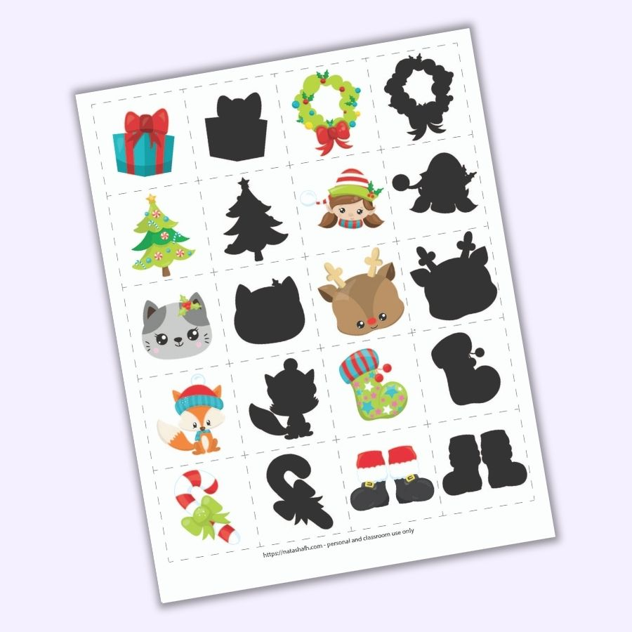 "A preview of a Christmas themed shadow matching game for toddlers and preschoolers. There is a grid of 8 pairs of images on 2"" cards to cut out. Images include a present, a Christmas tree, a cat face, a fox wearing a hat, a candy cane with a green bow, a wreath, a girl elf face, a Rudolph face, a green Christmas stocking, and Santa boots. Each image is shown next to it's ""shadow"" opposite with just a black fill instead of a colorful illustration."