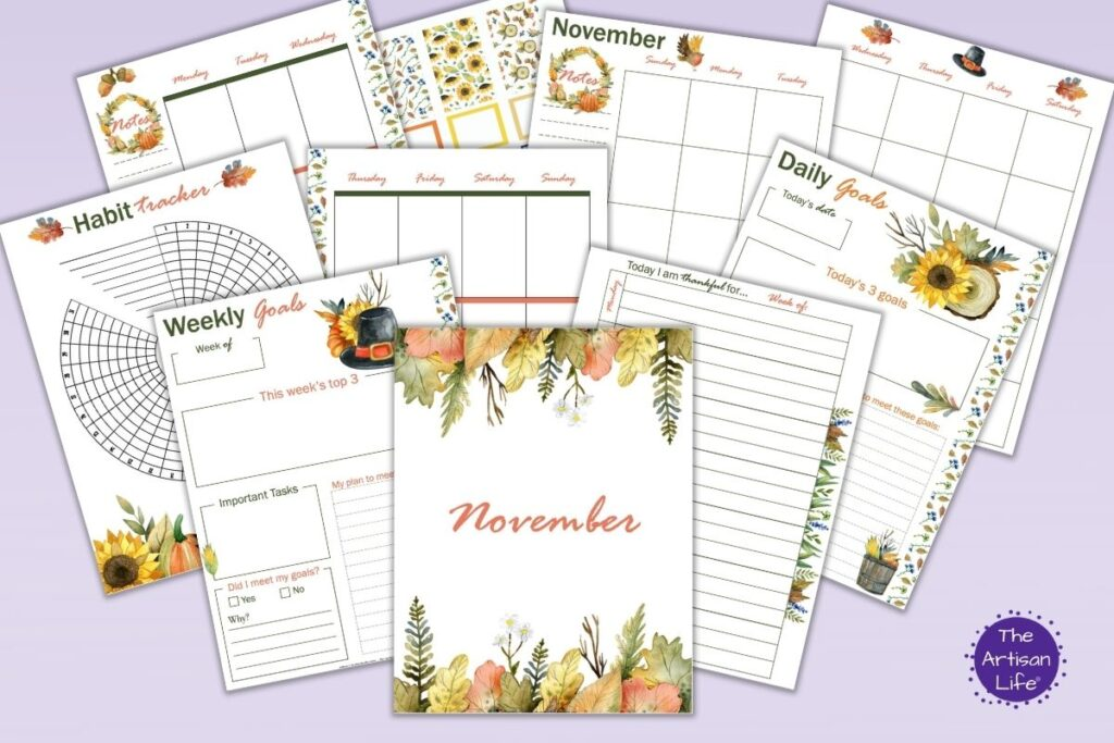 A preview of 10 printable planner inserts for November featuring fall watercolor florals. The images are arrayed on a light purple background.