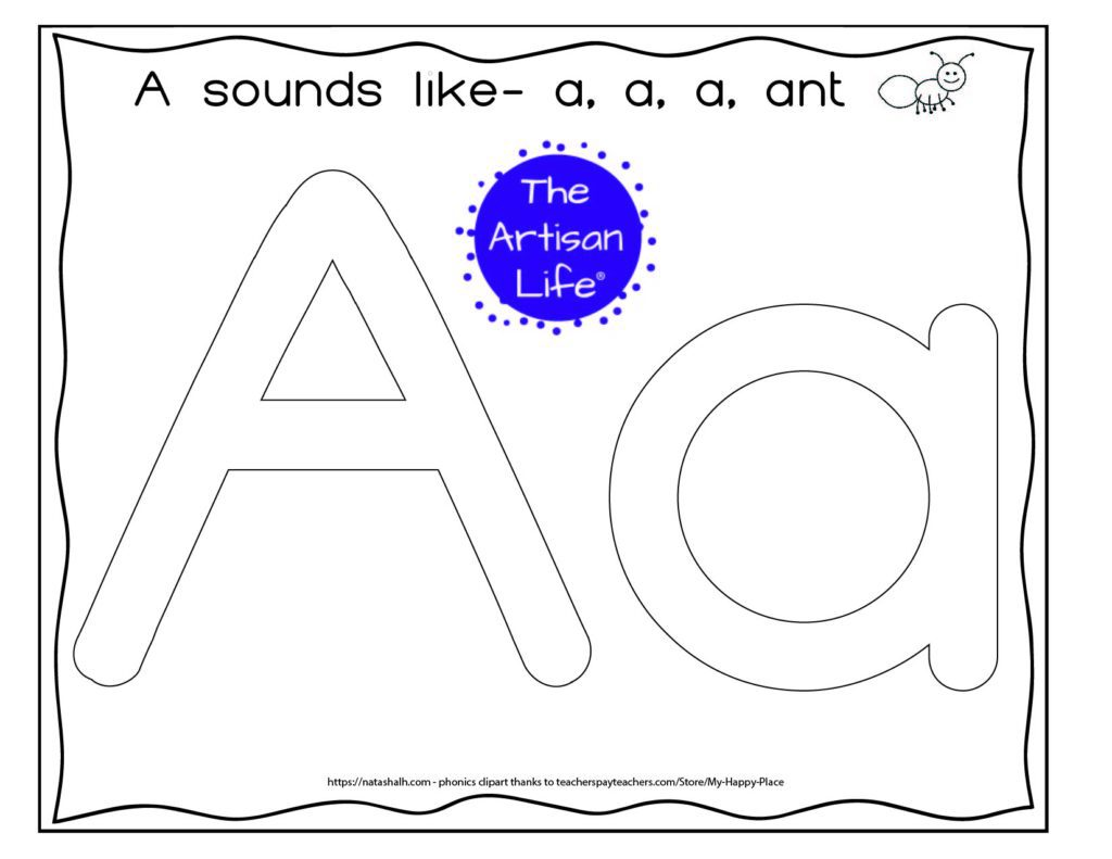 Alphabet letter play dough mat with the letters Aa in large bubble letters to fill with play dough