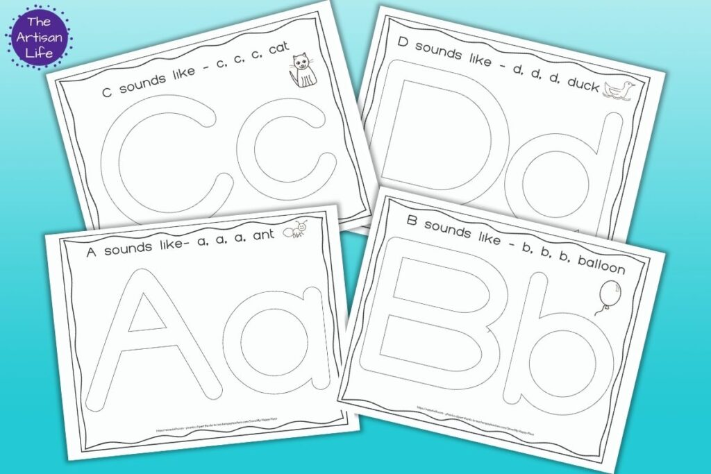 A preview of four printable play dough alphabet mats - letters a, b, c, and d. each mat has the letter in uppercase and lowercase large bubble letters to fill in with play dough and a picture representing the phonetic sound of the letter.