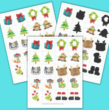 "A preview of three Christmas themed matching games for toddlers and preschoolers. The front and center image has a grid of 8 pairs of images on 2"" cards to cut out. Images include a present, a Christmas tree, a cat face, a fox wearing a hat, a candy cane with a green bow, a wreath, a girl elf face, a Rudolph face, a green Christmas stocking, and Santa boots. The other cards show the same images, but one set features mirror image pairs and the other set is a shadow matching game."