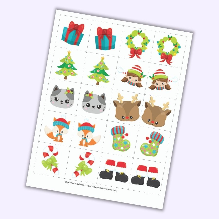 "A preview of a Christmas themed mirror image matching game for toddlers and preschoolers. There is a grid of 8 pairs of images on 2"" cards to cut out. Images include a present, a Christmas tree, a cat face, a fox wearing a hat, a candy cane with a green bow, a wreath, a girl elf face, a Rudolph face, a green Christmas stocking, and Santa boots. Each picture is on a card next to its mirror image opposite."