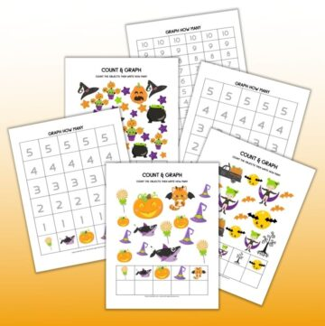A preview of 6 printable Halloween themed count and graph worksheets with numbers 1-5 and 1-10 to count with preschoolers