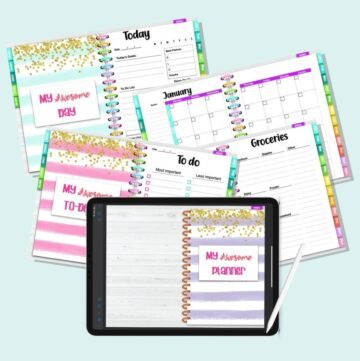 "A flatlay mockup of a landscape orientation digital planner. At the bottom center is a black iPad mockup with the front cover for the planner. The cover has purple and white stripes and the text ""my awesome planner"" in pink letters. Behind the iPad are four interior planner pages including a daily to do list, grocery shopping list, a calendar page for January, and a daily planner page"