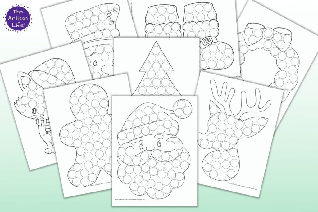 free printable Christmas do a dot pages for toddlers and preschoolers on a green background. Images include Santa, Rudolph, a gingerbread man, a Christmas tree, Frosty, Santa's boots, and a wreath.
