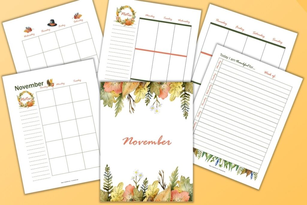 "A preview of 6 fall watercolor November planner printables. Pages include a cover page with fall foliage and ""November,"" monthly calendar pages, a vertical weekly spread, and a gratitude ejouranl page"
