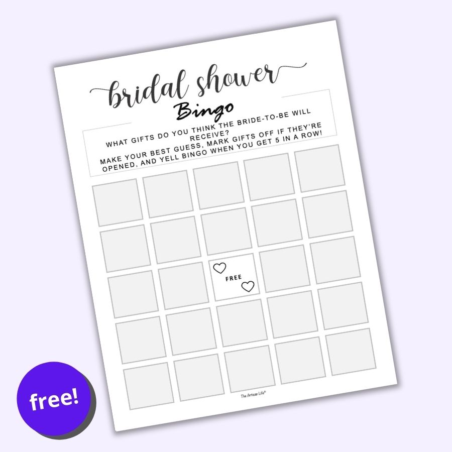 an image of a fill in blank bridal shower bingo card on a purple background. The card has a center free space with two hearts and grey squares for wedding shower guests to fill in.