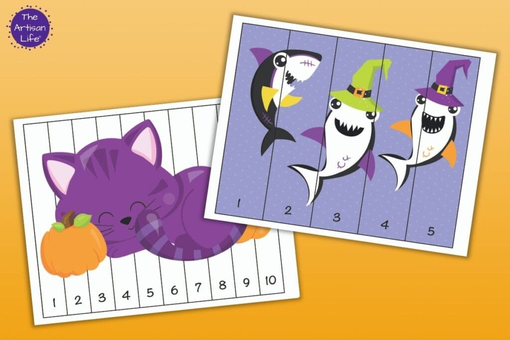 Two printable Halloween number building puzzles. One has numbers 1-5 and three Halloween sharks. The other puzzle has numbers 1-10 and a purple cat with two pumpkins