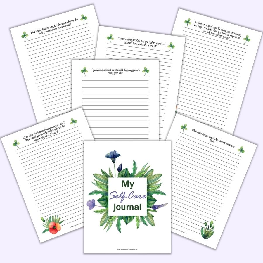 "A flatly mockup of 6 self-care journal pages on a light purple background. Each page has watercolor poppy flowers and leaves as well as a self-care journal writing prompt like ""If you asked friend, what would they say you're really good at?"""