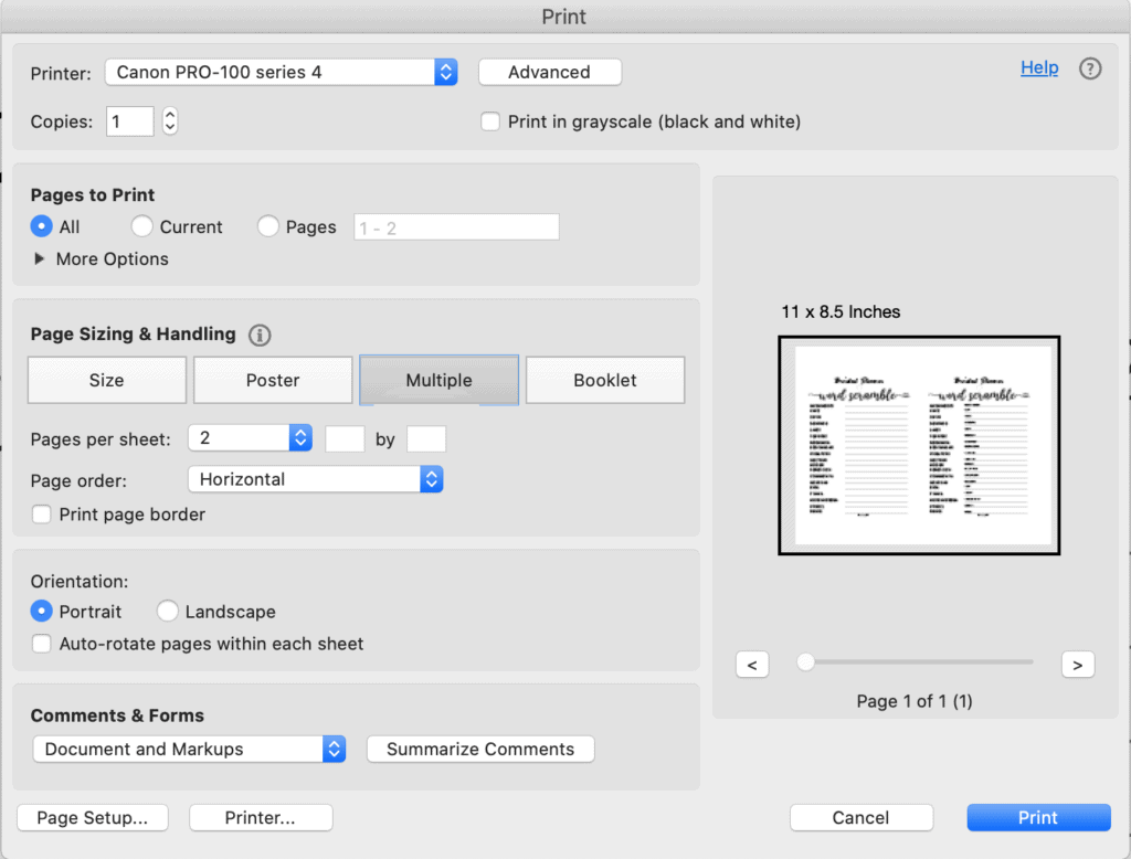 "A screenshot of printing a bridal shower word scramble in Acrobat Reader 2 up. The ""multiple"" button in the print dialogue box is selected with 2 pages in horizontal orientation."