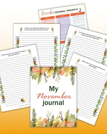 "a flatly preview of 6 printable journal prompts for November including a cover page reading ""My November journal"" and a page with 30 journal prompts for the month of November"