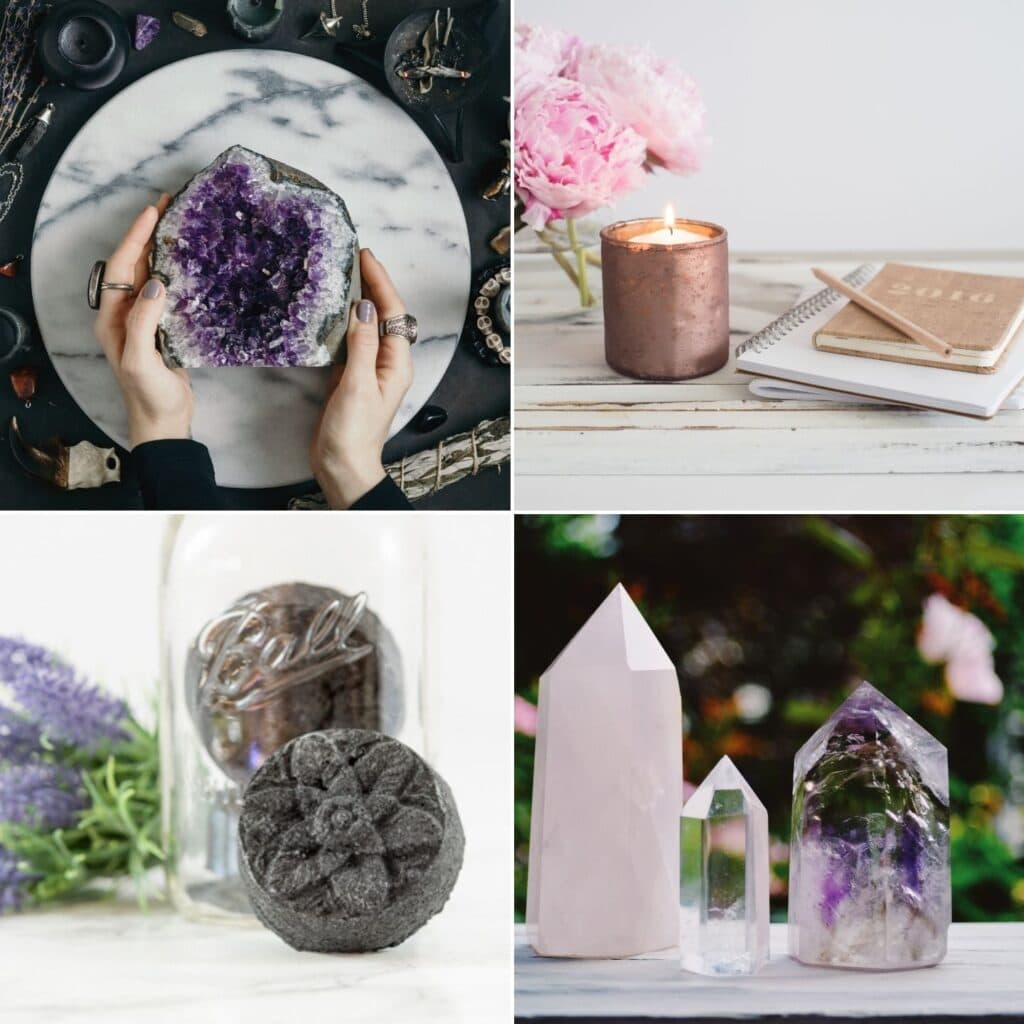 a 2x2 image grid showing a woman's hands holding amethyst, a journal with candles, an activated charcoal bath bomb, and crystal points.