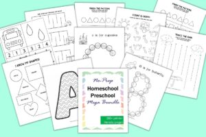 a flatlay mockup of a homeschool preschool activity binder with letter coloring pages, tracing pages, shape tracing, and more