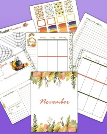 Printable november planner pages on a purple background. Pages include weekly vertical layouts, a gratitude journal page, a habit tracker, and a sticker sheet.