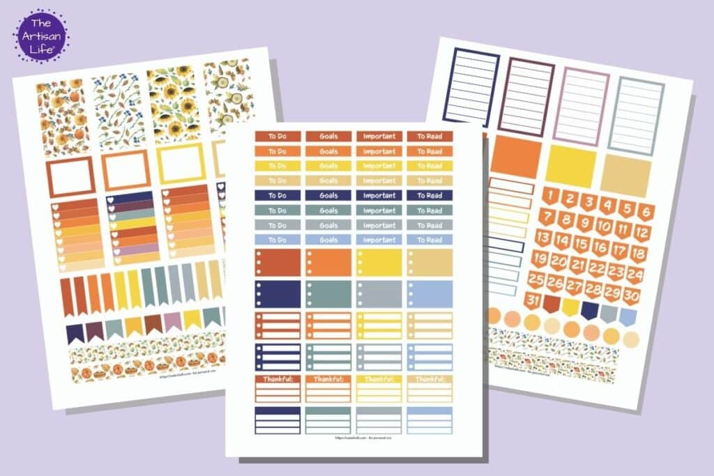Three printable sticker sheets in fall colors for the Happy Planner Classic. The printables are mocked up with faux drop shadows on a light purple background.