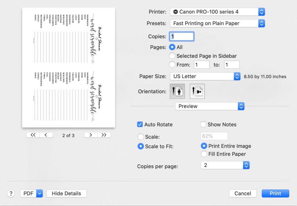 A screenshot of printing a bridal shower word scramble 2 to a page in Mac OS Preview