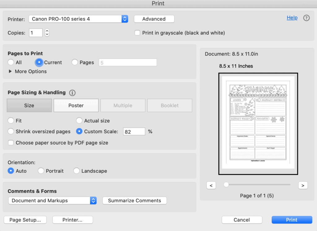 A screenshot of a print dialogue box showing printing at 82% for printing a US letter sized PDF to fit in the Happy Planner Classic