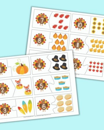 Two pages of printable two part number puzzles with a Thanksgiving theme. Each page has 6 number puzzle cards to cut out. The left side of each card has a turkey with a number 1-12. The right side has a corresponding number of cartoon Thanksgiving-related images such as pumpkins, slices of pie, and turkeys.