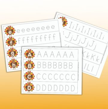 three printable alphabet tracing strips with letters on turkeys and dotted letters to trace. The front page has A B C and D each on a turkey followed by a line of dotted uppercase letters to trace.