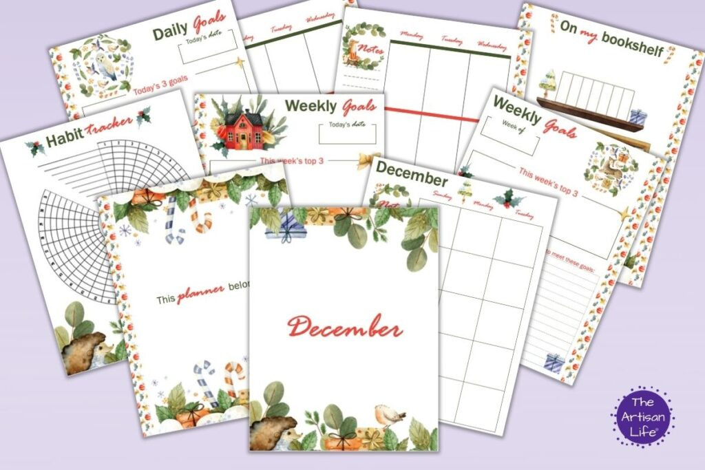 """a flatly mockup of 10 printable Happy Planner Classic insert pages for December including a cover page, """"this planner belongs to"""" monthly calendar, habit tracker, weekly goals, daily goals, weekly spread, and bookshelf tracker"""