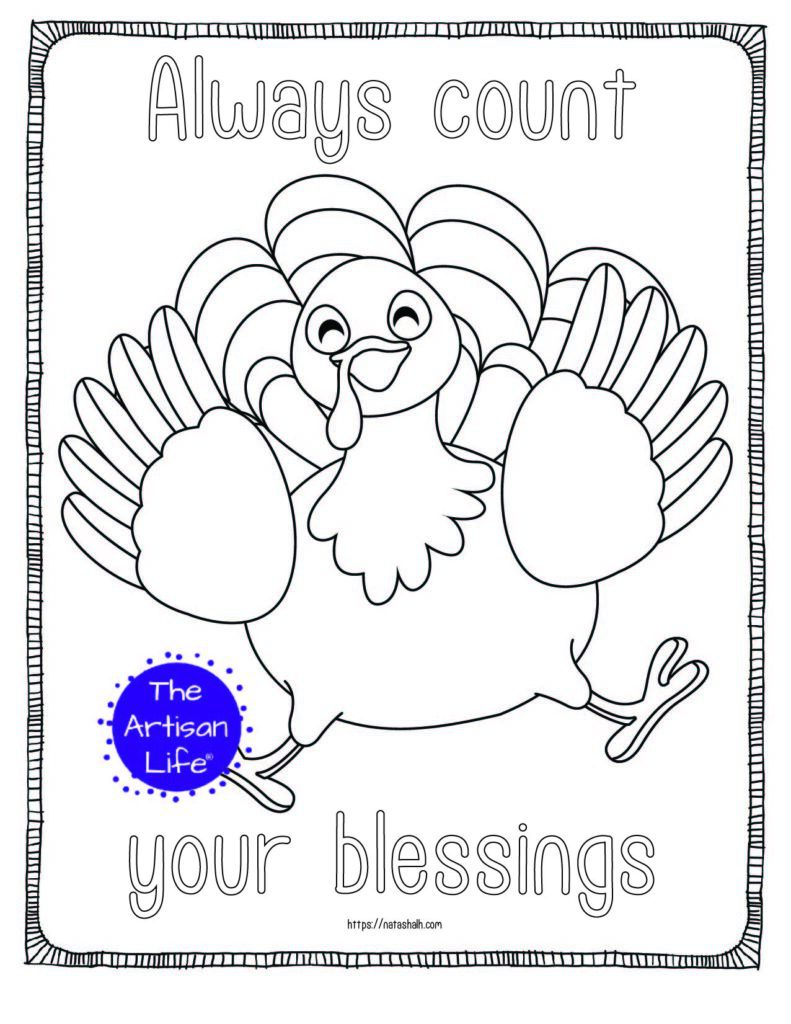 "A printable thanksgiving coloring page with a jumping turkey and the text ""always count your blessings"""