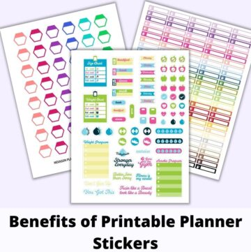 """a flatly mockup of three digital planner sticker sheets above the text """"benefits of printable stickers."""" The front and center sticker page has bright, cheerful fitness icons. Behind are hexagon stickers and checklist header stickers."""