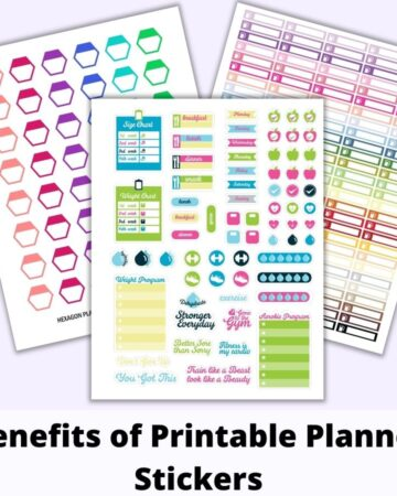 "a flatly mockup of three digital planner sticker sheets above the text ""benefits of printable stickers."" The front and center sticker page has bright, cheerful fitness icons. Behind are hexagon stickers and checklist header stickers."