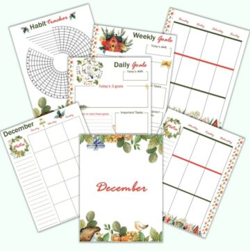 a mockup flatlay image with 7 printable December planner pages featuring watercolor art. There are a December cover page, monthly planner pages, weekly vertical pages, weekly and daily goals trackers, and a habit tracker