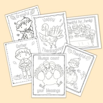 """six printable Thanksgiving wall art coloring pages. Each page features a doodle border frame and a word to color such as """"thankful"""" or """"grateful"""" along with cute line art illustrations to color"""