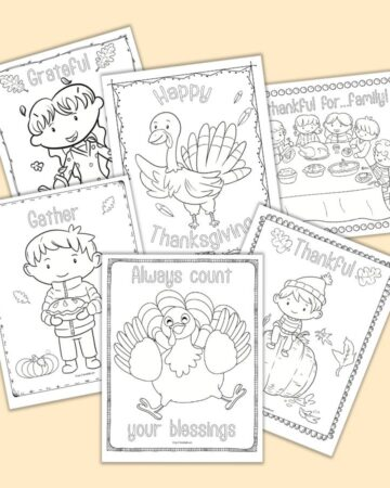 "six printable Thanksgiving wall art coloring pages. Each page features a doodle border frame and a word to color such as ""thankful"" or ""grateful"" along with cute line art illustrations to color"