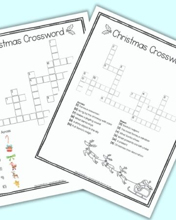 A free printable Christmas crossword puzzle for children featuring image clues instead of text clues. The page has a doodle frame border. The crossword is on a blue background surrounded by children's markers. Behind the page with a crossword puzzle a second page is barely visible. It is the puzzle's answer key.