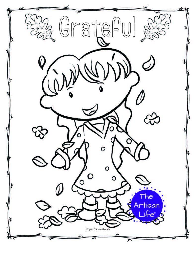 "A printable thanksgiving coloring page with a girl playing in leaves and the text ""grateful"""